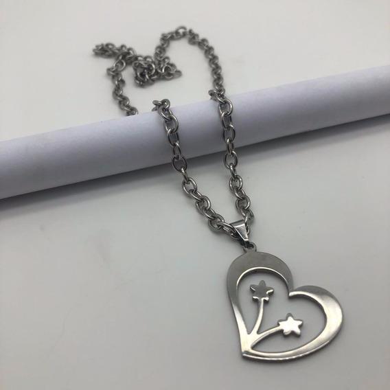 Cordão De Aço Inoxidável Com Pingente Coração