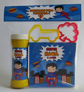 25 Massinhas C/ 2 Moldes + Bolha Personalizada Superman Cute