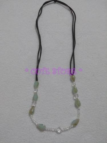 Colar Cristal Verde Comprido Cristais Cordão De Couro