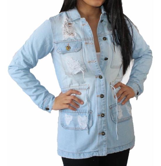 Jaqueta Parka Jeans Feminina Azul Escuro Lady Rock