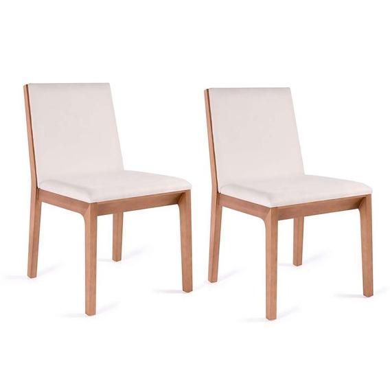 Conjunto Com 2 Cadeiras De Jantar Iris Branco E Castanho