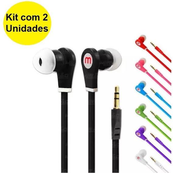 Kit 2 Fone De Ouvido P2 Emborrachado Intra Auricular In-ear