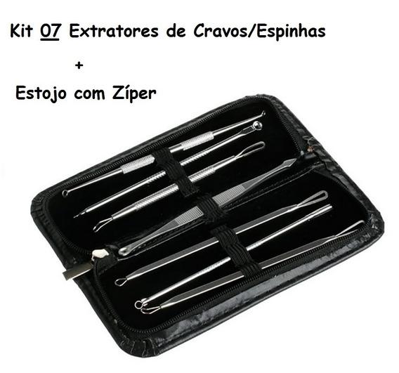 Kit Extrator De Cravos E Espinhas 7 Peças Inox + Estojo