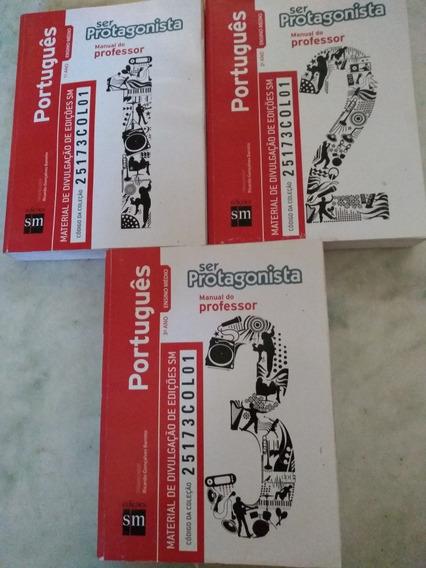 Lote Livros Ser Protagonista Português Vol 1 2 3 Professor