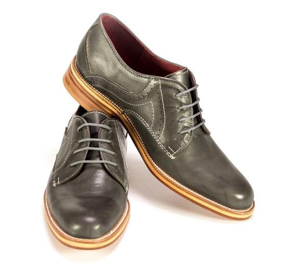 Zapatos Vestir Hombre Hogh Cuero Gris Calzado Fiesta