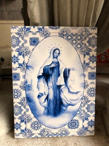 Reina De La Paz Azulejo - Medjougorje 15 X 12 Cms