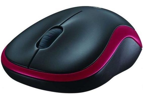 Mini Mouse Wireless Logitech M185 - Vermelho