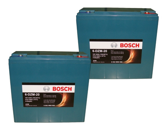 Kit Bateria 2un 24ah 12v Bosch Cadeira De Rodas Ortobras