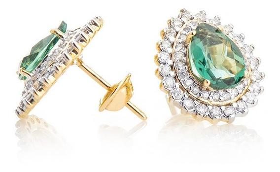 Brinco De Ouro 18k Gota Topázio Verde Com Diamantes Br23272