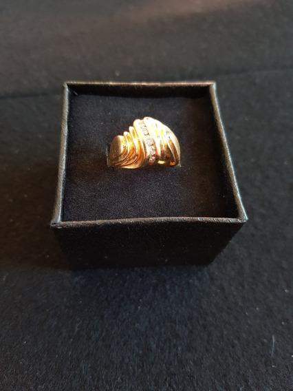 Anillo De 5 Diamantes Y Oro 14k Solido