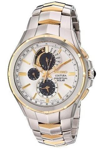 Relógio Seiko Masculino Solar Coutura Prata/dourado/branco