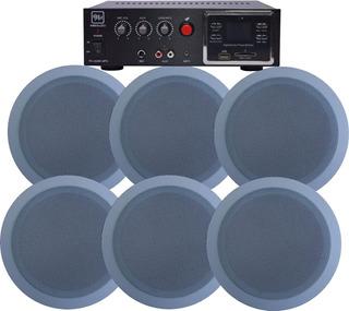 6x Parlante Blanco Embutir Moon + Amplificador Vmr 60w Usb
