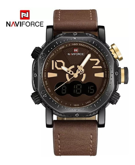 Relógio Naviforce 9094 Display Duplo Militar Luxo Original