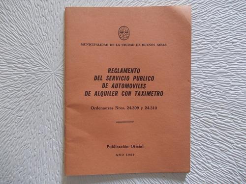 6737- Reglamento  Automotores De Alquiler Taxis 1969