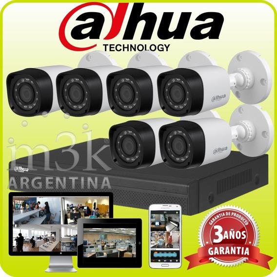 Kit Seguridad Dahua Full Hd Dvr 8 + 6 Camaras Infrarrojas Bullet Exterior O Domo Interior + Ip Celular Cctv P2p