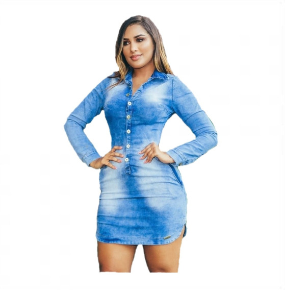 Vestido Jeans Lycra Chemise Feminino Com Botões Moda 2019