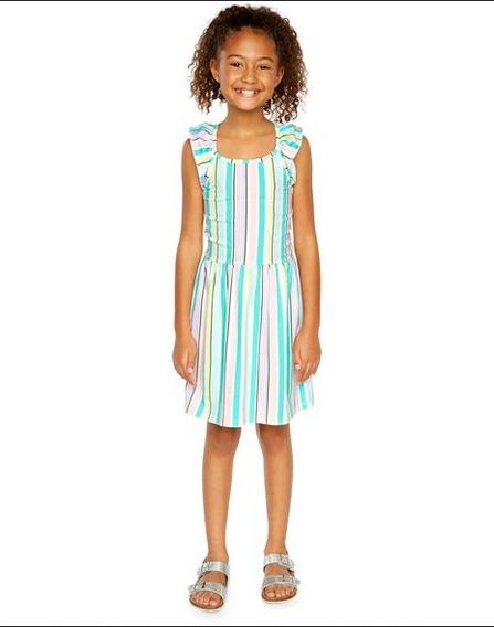 Vestido Princesa Infantil Médio Strapless Striped Flutter Algodão Carters Festa
