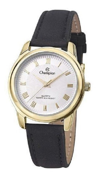 Relógio Champion Feminino Couro Dourado Ch24651b