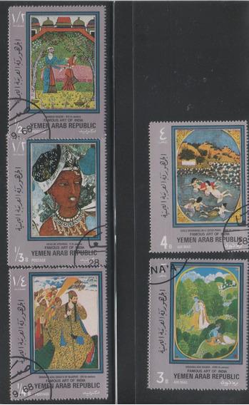 Estampillas Yemen 1971 Arte Pintores Indios Lote Pde