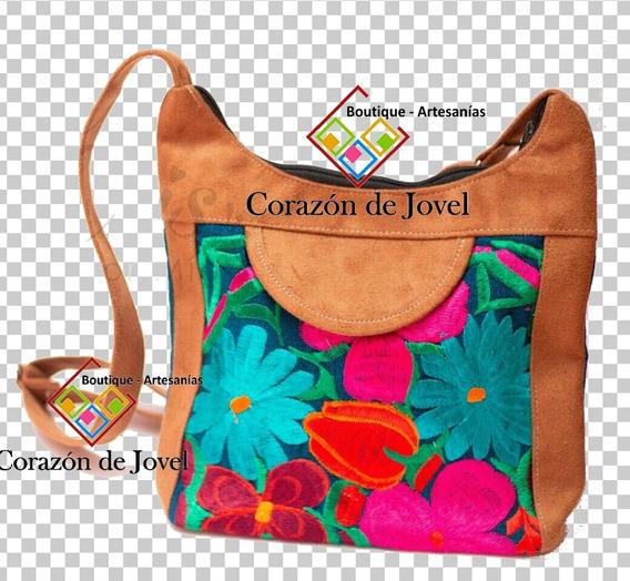 6 Bolsas/mariconeras Artesanales Bordadas De Flores-chiapas