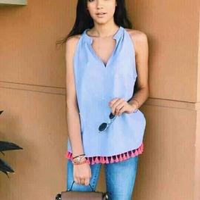 Blusa Azul Cielo Y Cordones De Colores