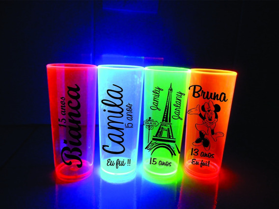 50 Copos Long Drink Personalizados 350 Ml Neons
