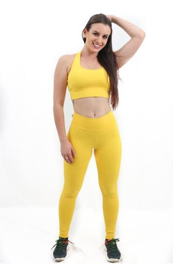 Calça Legging Sprint Anti Celulite Tecido Emana Amarela Uv50