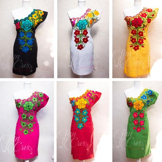 6 Elegantes Vestidos Artesanales Bordados Flores De Chiapas