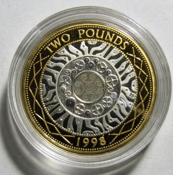 Uk Inglaterra 2 Pounds 1998 Bimetalica Tecnologia Proof
