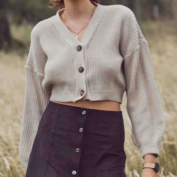 Cardigan Sweater Saquito Crop Corto