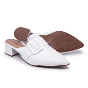e753e4f15 Sapato Confort Feminino Salto Medio Branco - Sapatos no Mercado ...