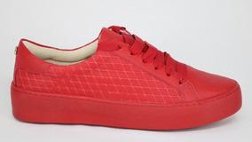 Tênis Bottero Couro Flatform Cadarço Vermelho - 37 - Vermelh