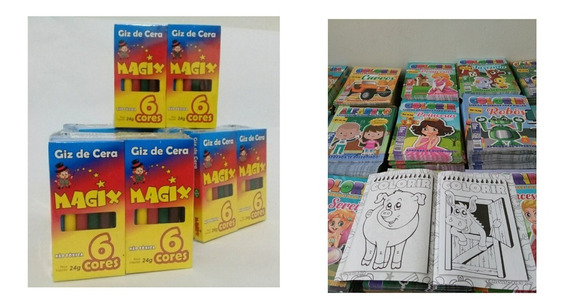 Colorir,kit: 40 Revistas+ 40 Caixas De Giz De Cera