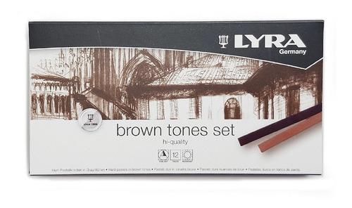 Crayon Suave Pastel Polycrayon Tonos Cafés Lyra 12 Pzs