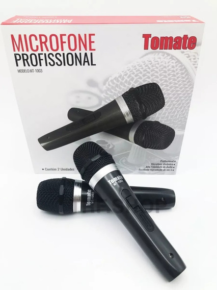 Kit Microfone Profissional Com Fio Duplo Tomate Mt-1003
