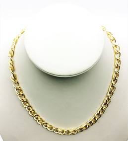 Gargantilha Elos Duplos Diamantados 45cm Banho Ouro 18k 3101