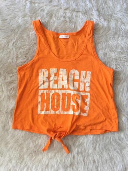 Remera Musculosa Mujer Teens Como Quieres Naranja Estampada