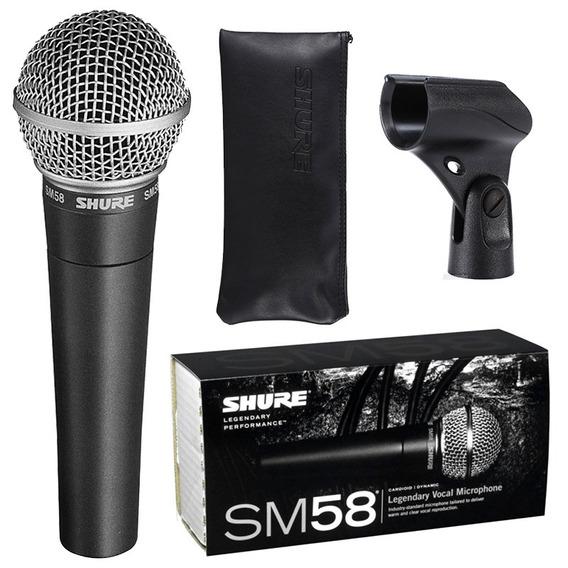 Microfone Shure Sm58 Lc Made In Mexico Original + Acessórios