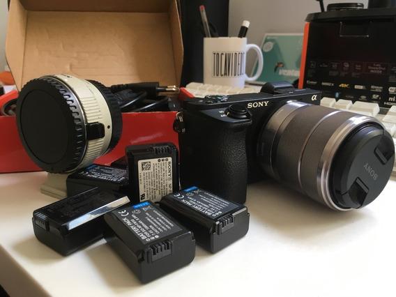 Sony A6500 + 6 Baterias, Adaptador, Lente, Carregadores, Ac