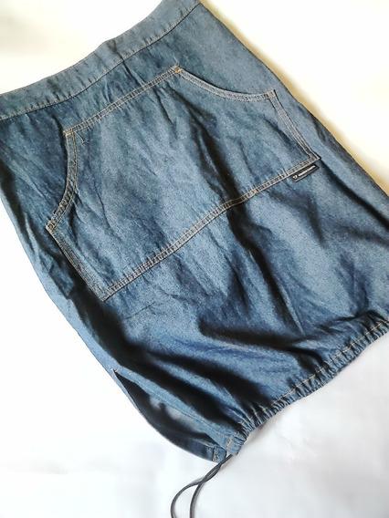 Saia Jeans Diferente Balonê Midi Virgem Santa P