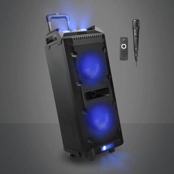 Caixa De Som Com Bluetooth Microfone Mesa Torre Disco Light