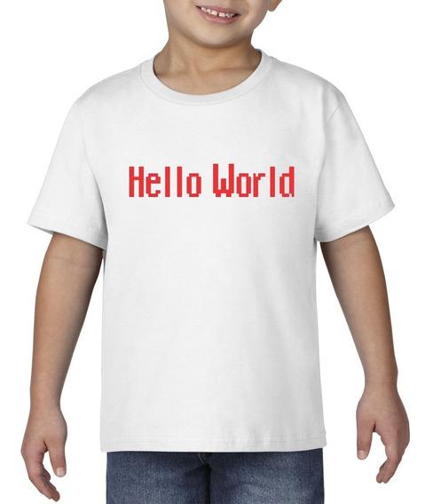 Camiseta Playera Bebe Niño Geek Programador Hello World Rojo