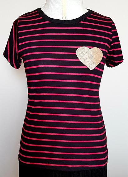 Blusa Feminina Camiseta Listrada Com Lantejoula Ou Bordada