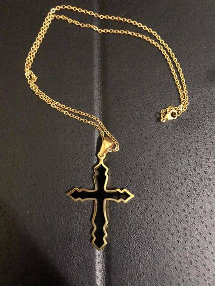 Corrente Banhada A Ouro 50cm + Pingente Crucifico Novo