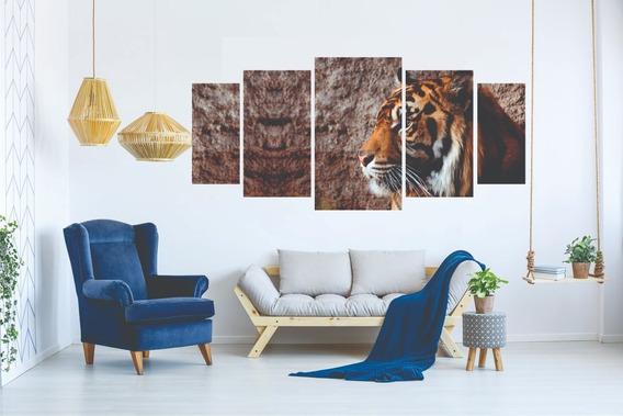 Kit Quadro Decorativo Sala Peças Mosaico Tigre Animal