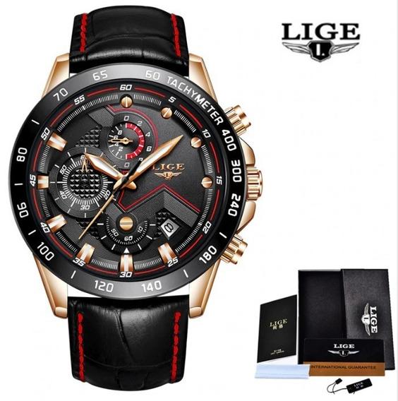 Relógio Masculino Lige 9874 Cronógrafo + Caixa Original