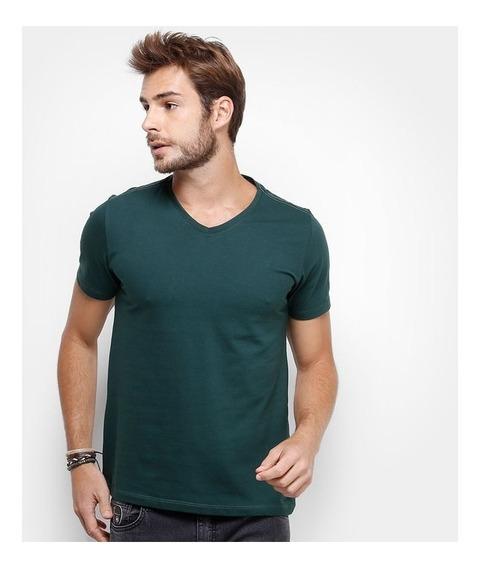 Kit 2 Camisetas Gola V Masculina Básica Lisa Algodão Blusa