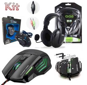 Kit Gamer Headset Microfone + Mouse 7 Botões Usb Pc Desktop