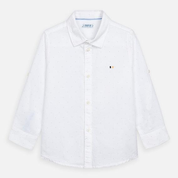 Camisa Lino Microestampado M/l Niño Talla 2 Años Unica Pieza