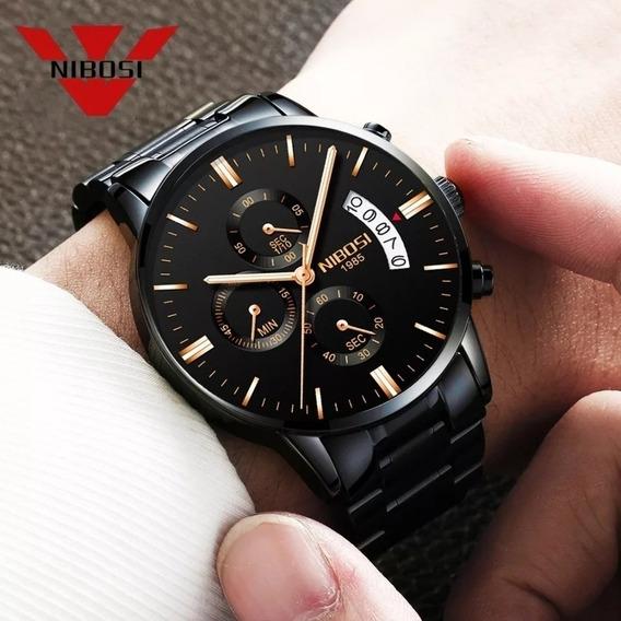 Relógio Nibosi Luxo Original Funcional Preço Atacado